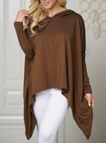 Lightweight Irregular Hem Hoodie - Brown