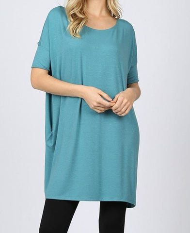 HALF SLEEVE DROP SHOULDER BOXY TOP WITH SIDE POCKETS