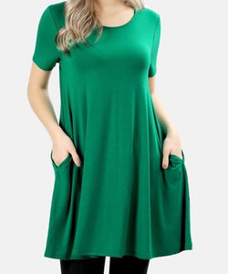 LONGLINE FLARED STRAIGHT HEM TUNIC WITH SIDE POCKETS