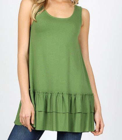 SLEEVELESS ROUND NECK RUFFLE BOTTOM TOP