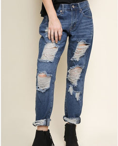 Boyfriend Jean with Cutout Distressing