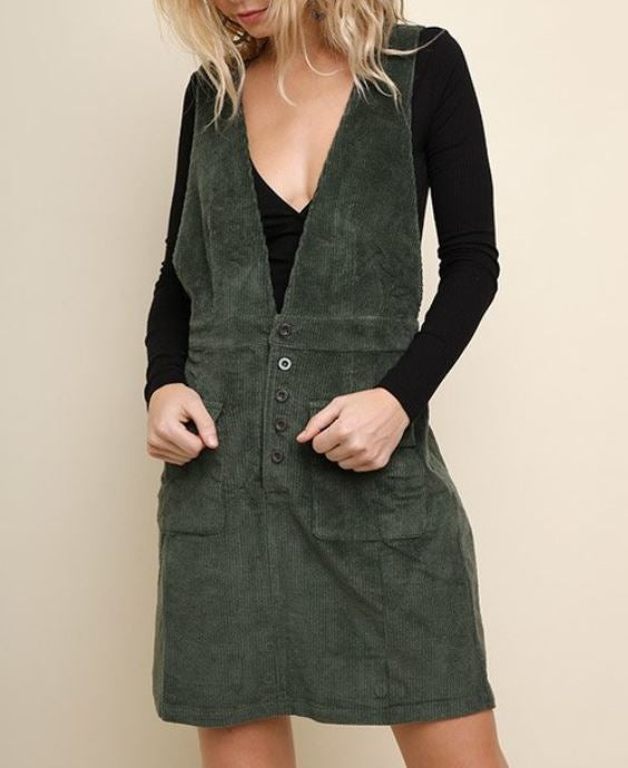 Sleeveless Corduroy Button Front Overall Dress