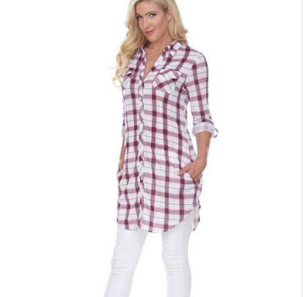 Stretchy Soft Knit Button Down Tunic