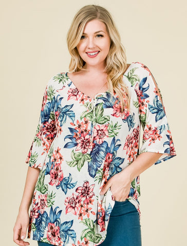 Floral Top w/Tie Front
