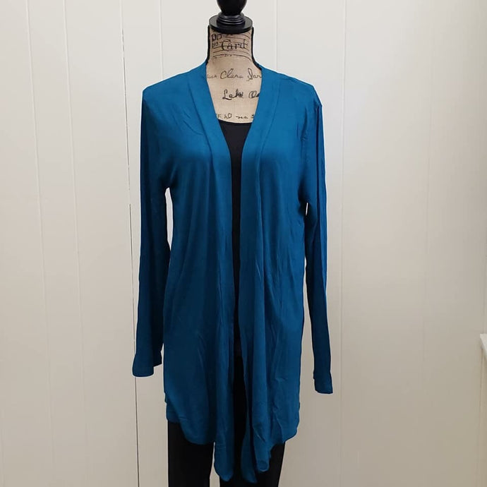 Teal Open Front Drapey Long Sleeve Cardigan