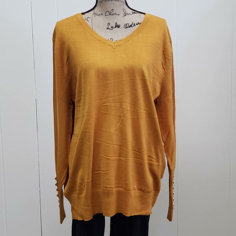 Desert Mustard V Neck Long Sleeve Sweater with Sleeve Buttons