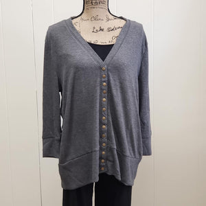 Charcoal Plus Cardigan 3/4 Sleeve Sweater