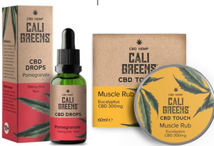 Gift Set: 1 x Pomegranate 750mg 15ml CBD Oil and 1 x Cali Greens Muscle Rub - The CBD Selection
