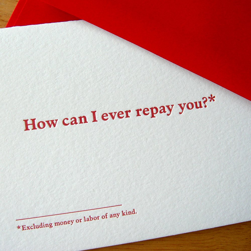 How Can I Repay You Thank You Card