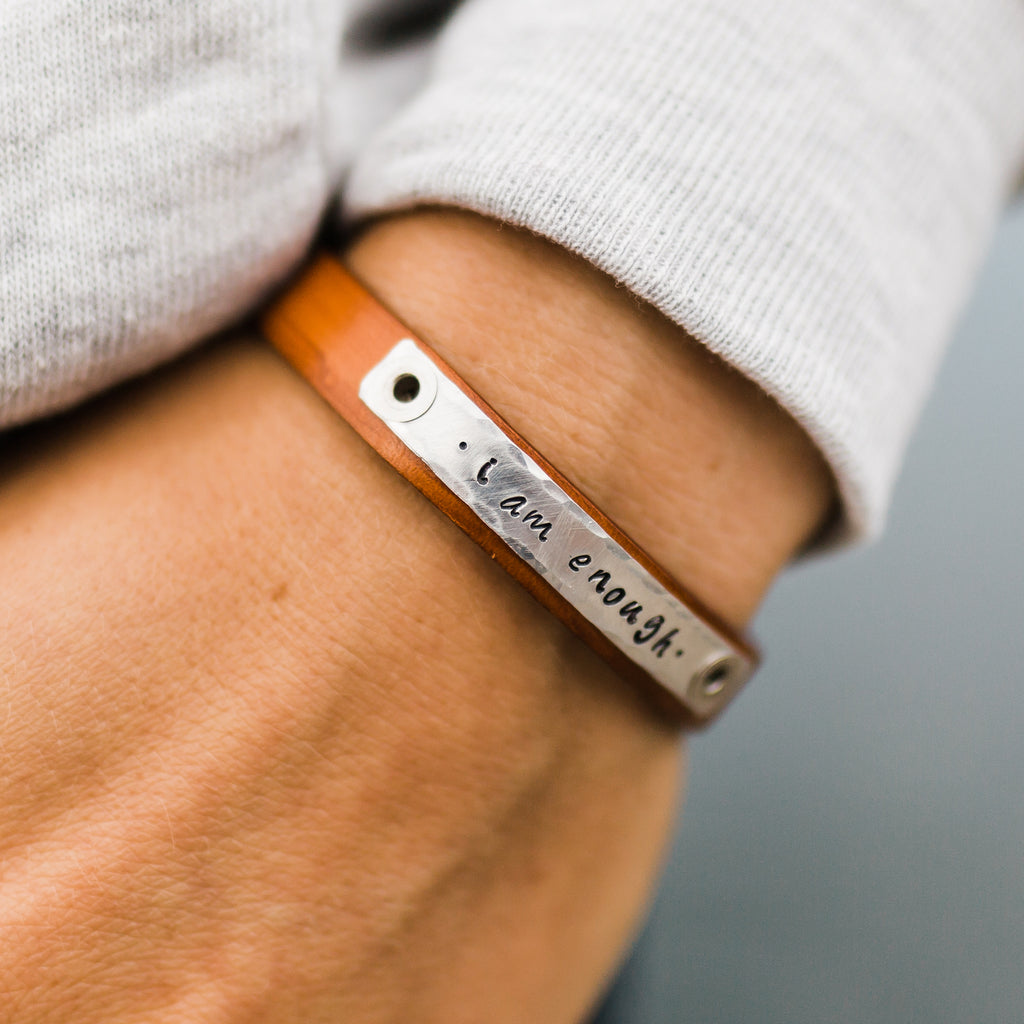 Cinnamon Skinny Leather Bracelet - I am Enough