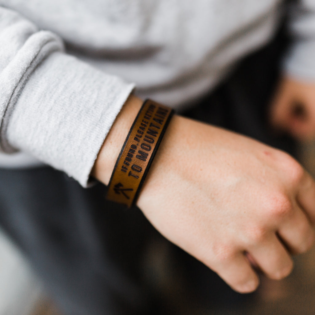 Return to the Mountains Leather Bracelet
