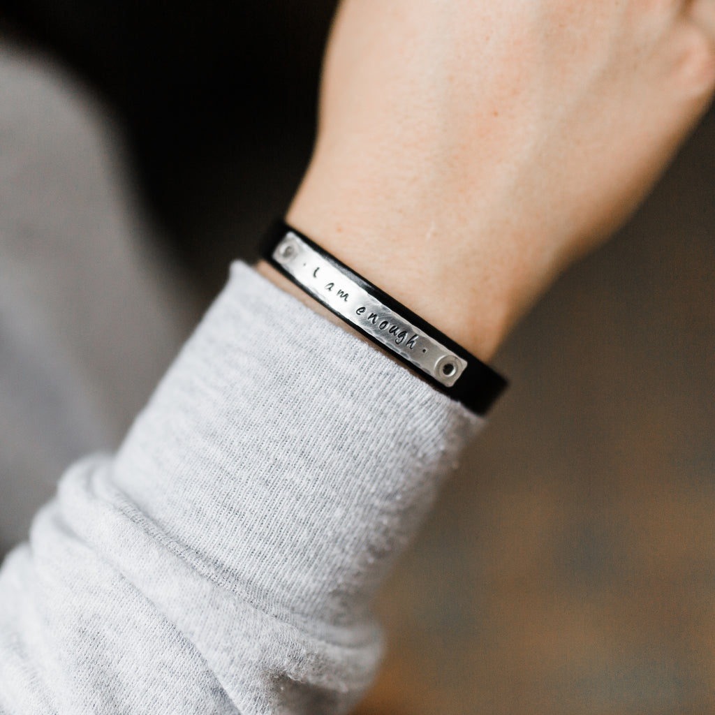 Black Skinny Leather Bracelet - I am Enough