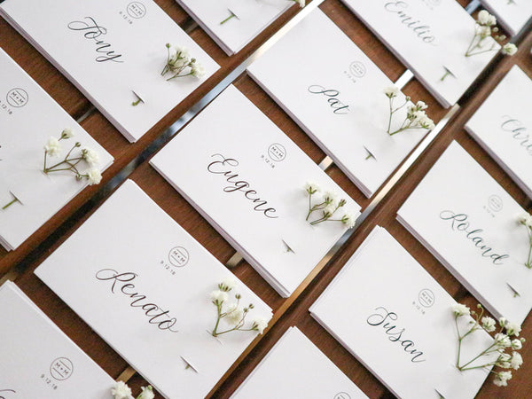 Bespoke wedding place cards with real flowers | The Hello Bureau, Melbourne