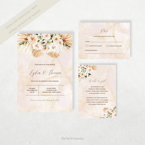 Editable Boho Wedding Invitation Template | Mykonos | The Hello Bureau