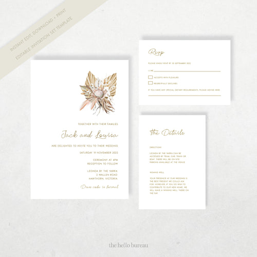 Editable Boho Wedding Invitation Template | Tahiti | The Hello Bureau