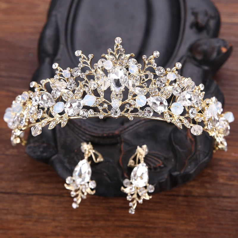 Gold Crystal Tiara & Earrings Set