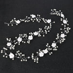 Silver Rhinestone & Pearl Flower Braid Hair Vine