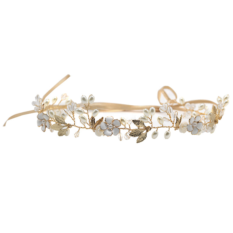 Gold/Silver Flower Crystal Pearl Bridal Headband with Ribbon