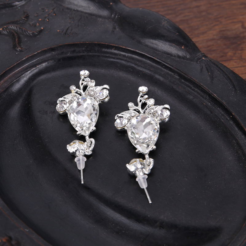 Silver Crystal Rhinestone Tiara & Earrings Set