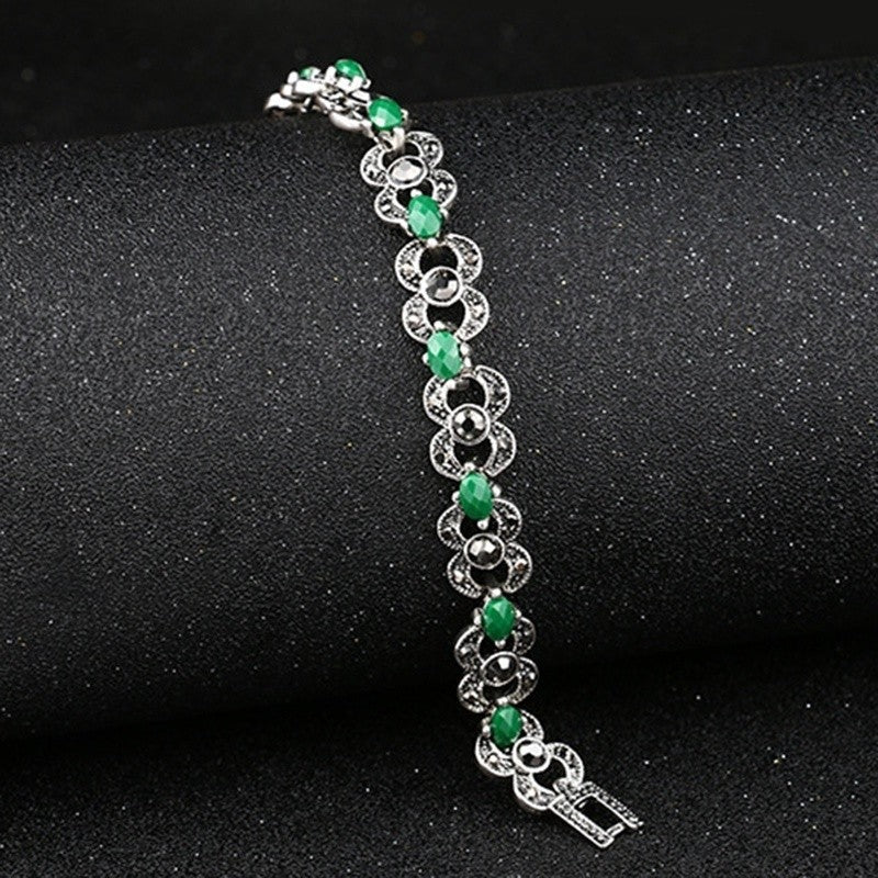 Woman Bohemian Ethnic Jewelry Silver Color Bracelets Green Stones Jewelry