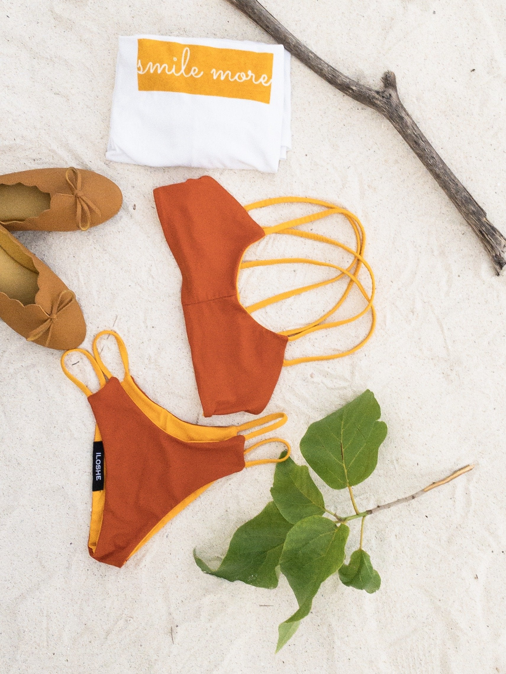 orange sustainable sporty swimwear