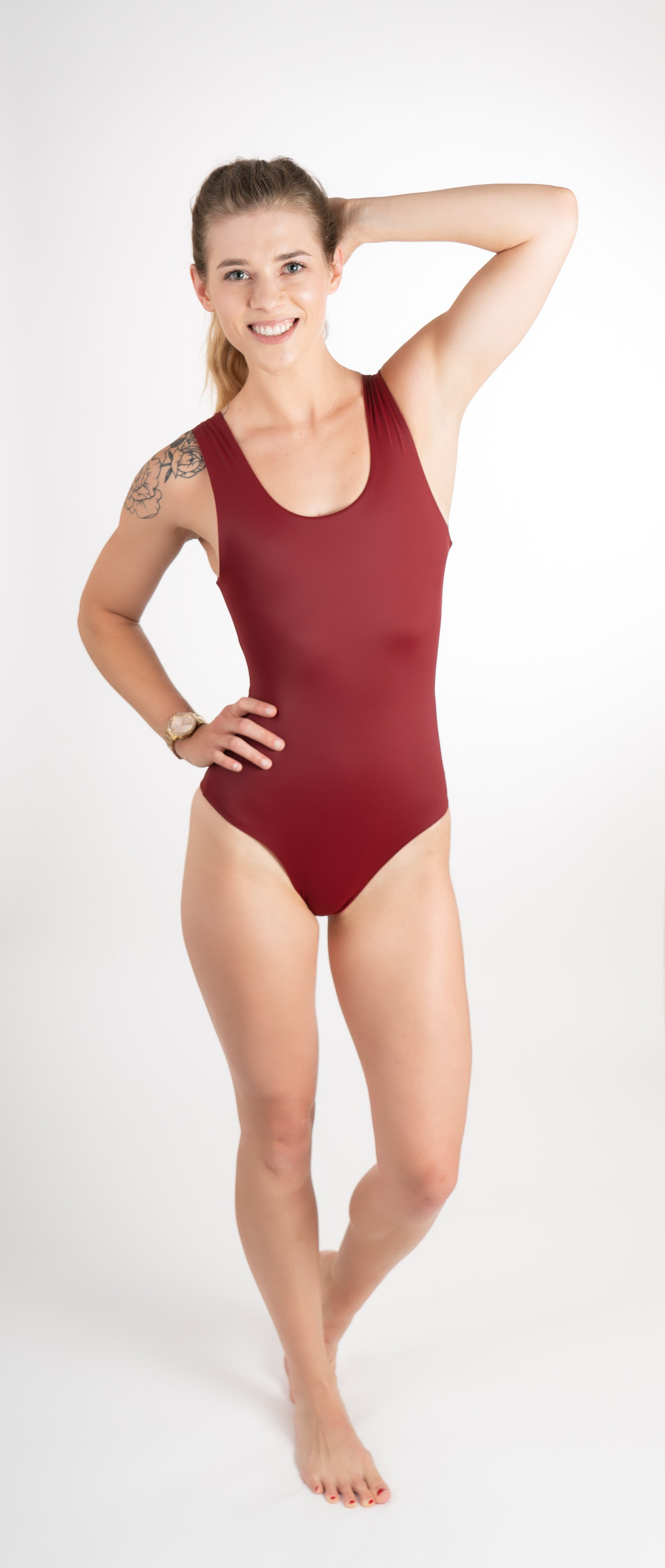 red black one piece mid coverage bottom
