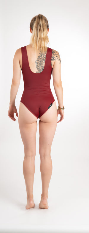 maroon-scoop-neck-one-piece-swimming-suit