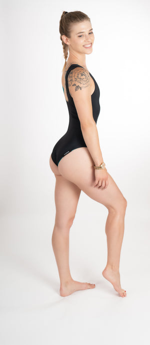 black sustainable one piece bathing suit