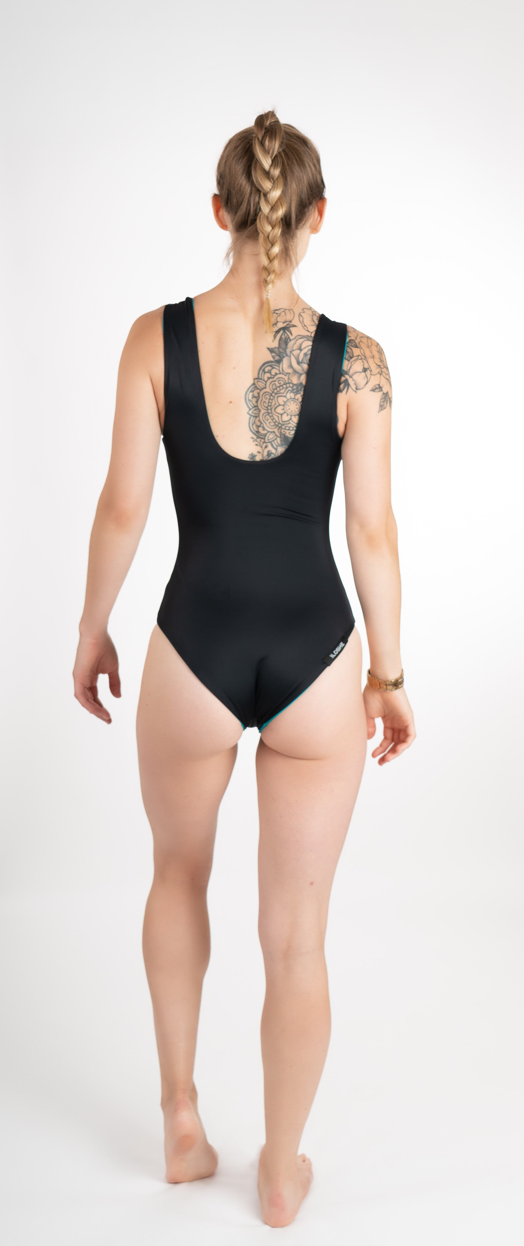 handmade one piece swimsuit reversible black