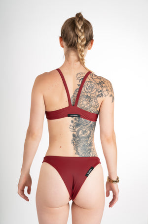 sustainable bikini bottom maroon
