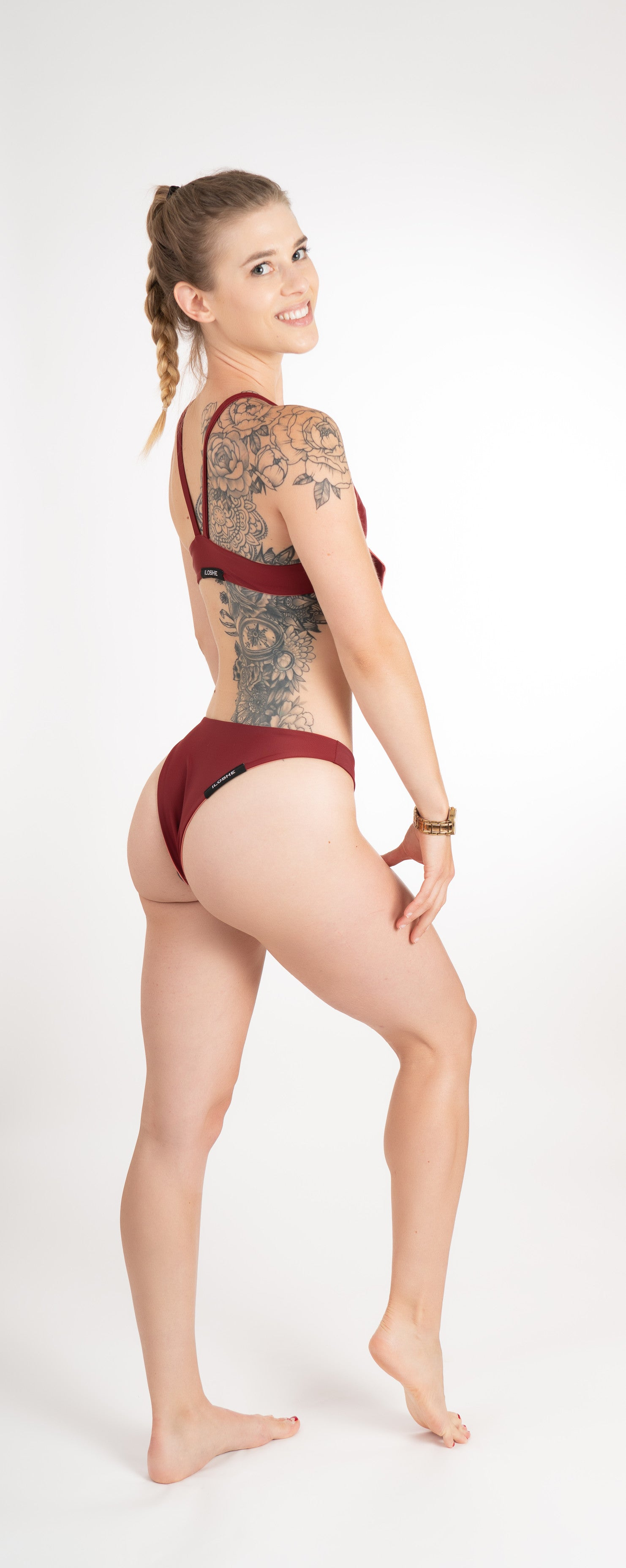 Eco friendly bikini bottom reversible maroon