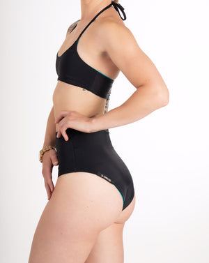 high waisted black reversible bikini bottom