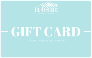 digital gift card for redeeming the amount for swimwear and scrunchies that are handmade and sustainable
