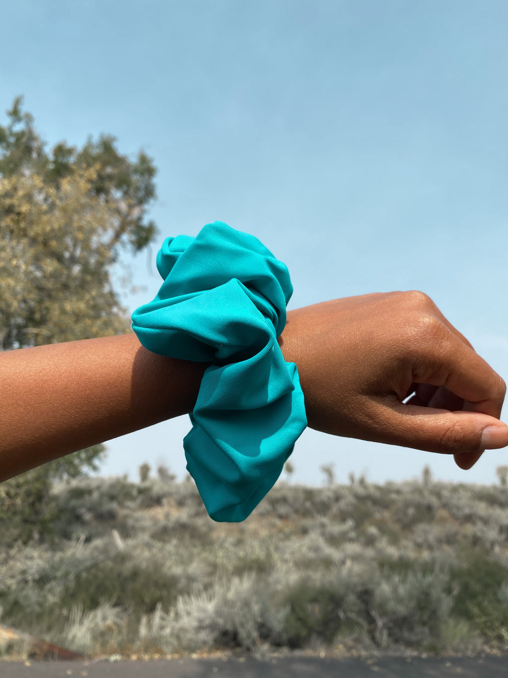 Teal colored scrunchies