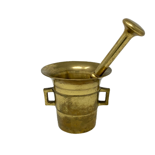 Vintage brass mortar and pestle