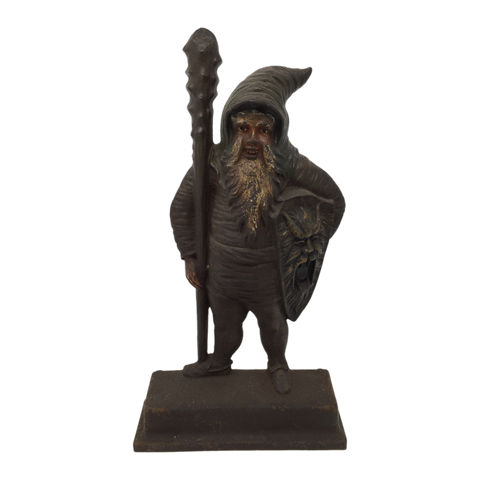 Antique cast iron warrior gnome doorstop by B&H, late 19th century