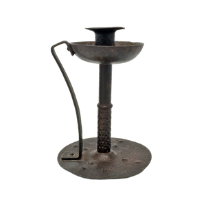 "Antique wrought iron chamberstick by Goberg circa 1910, stamped ""Germany"""