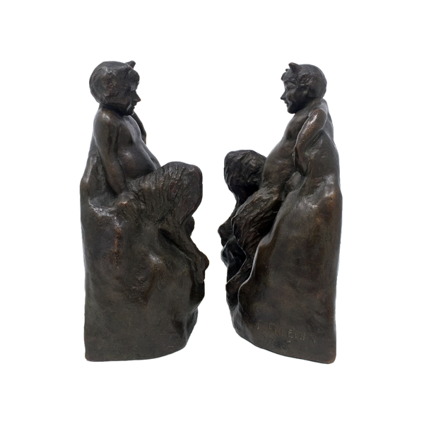 Antique bronze satyr bookends by Zoppo Foundries circa 1914