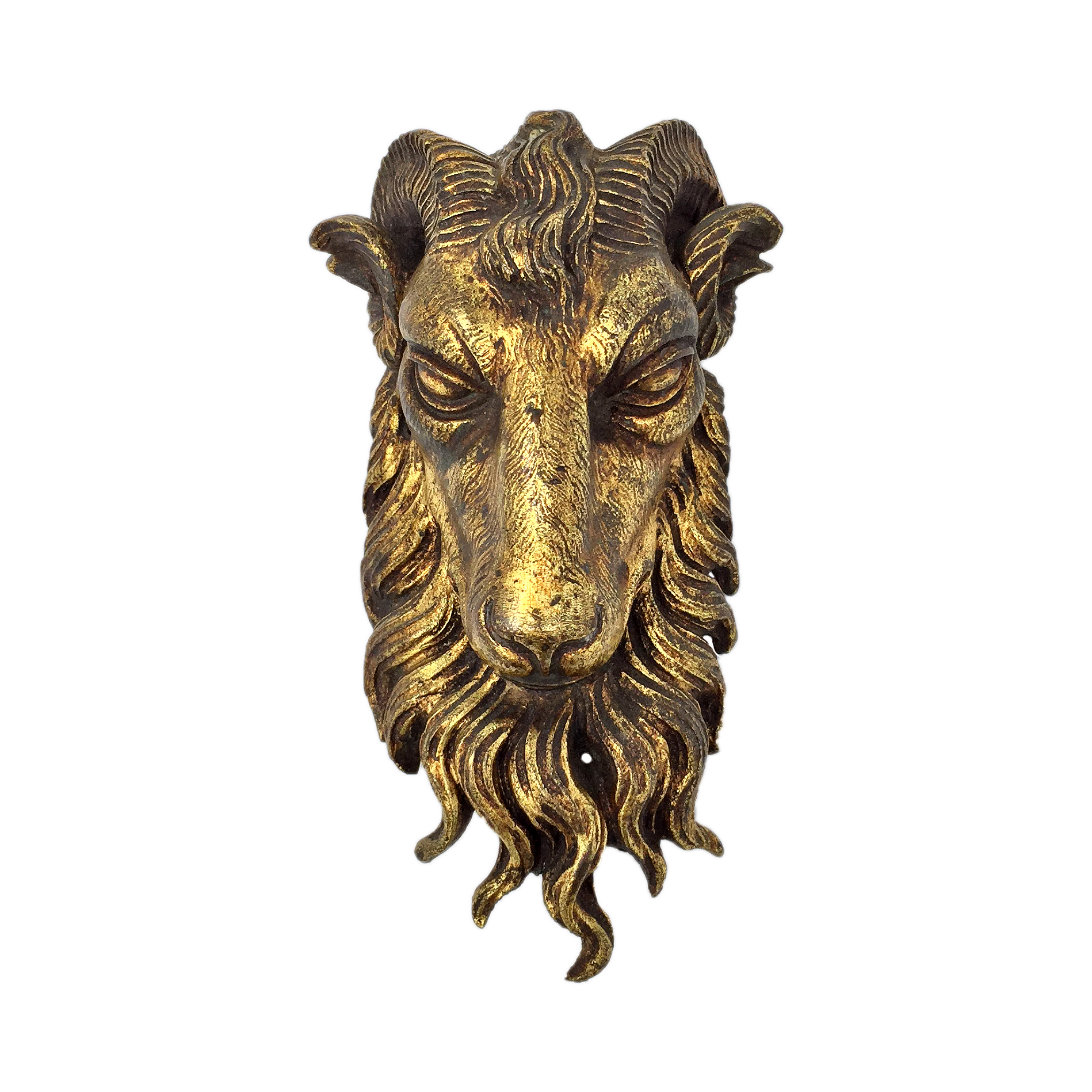 Antique gilt bronze ram's head circa 19th century, Baphomet idol