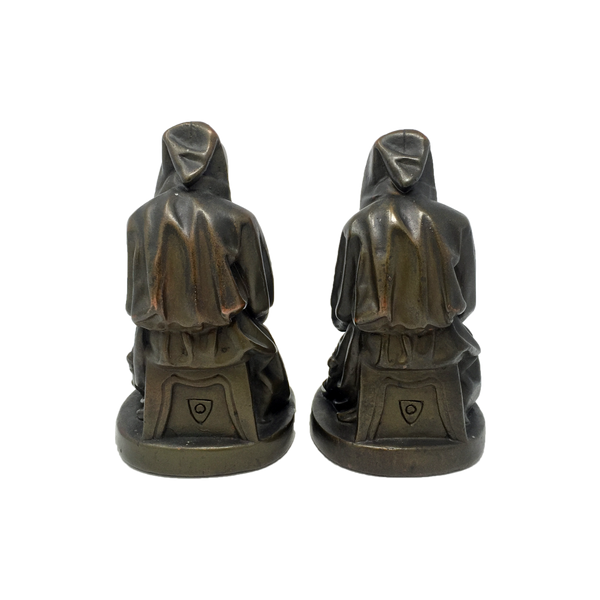 Antique bronze-clad mournful monk bookends by Armor Bronze circa 1922