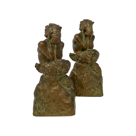 Antique satyr bookends by McClelland Barclay circa late 1930s