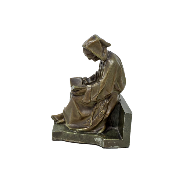 Antique mournful monk bookend by Judd circa 1925