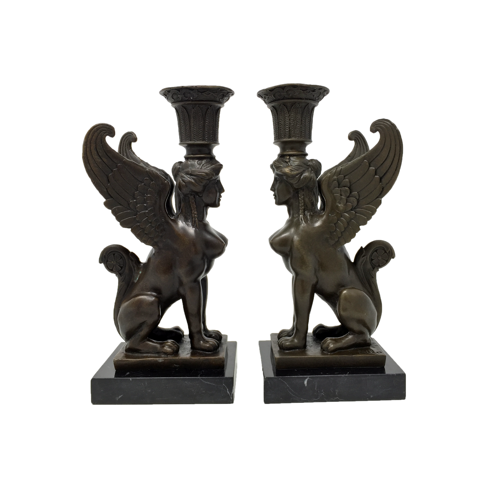 Vintage Egyptian revival bronze sphinx candlesticks by Milo