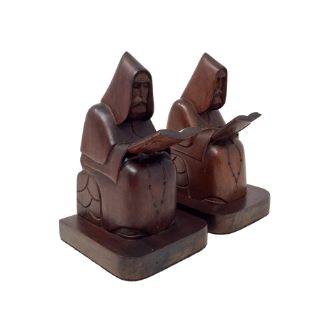 Vintage melancholy monk wooden bookends
