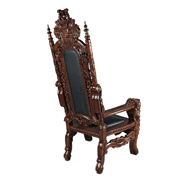 The Lord Raffles Leather Lion Throne Chair