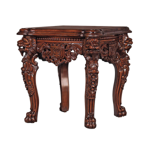 Antique replica hand-carved mahogany lion leg side table