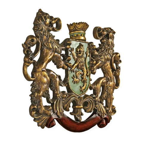 Heraldic lions royal coat of arms wall sculpture
