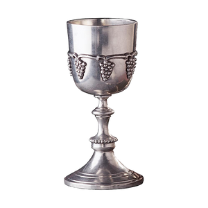 Wine goblet of solid pewter