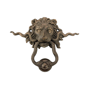Serpent and Lion cast iron door knocker