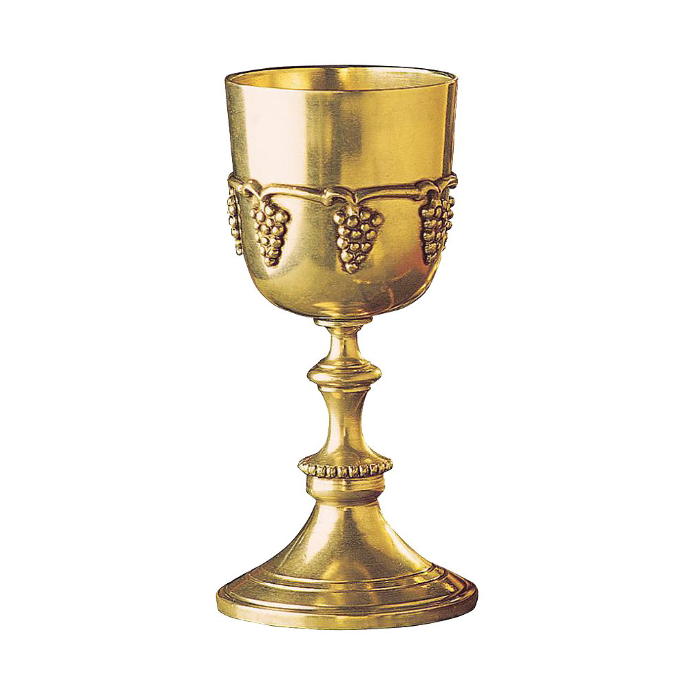 Wine goblet of solid brass
